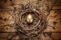 在巢的金黄鸡蛋 免版税库存照片