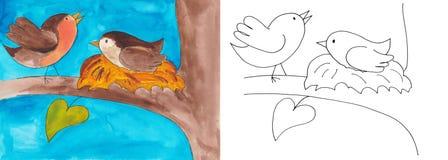在巢的鸟 免版税库存图片