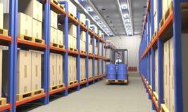 在工业仓库3d例证的铲车 向量例证
