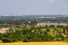 在工业区的看法在Kremenchug市 免版税图库摄影