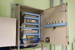 在工业透气屋子的墙壁上的被打开的通风系统控制箱 免版税库存照片