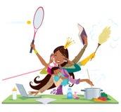 在工作和婴孩之间的繁忙的黑人妇女和母亲multitask 库存图片