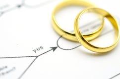 在工作流程的婚戒 免版税库存照片