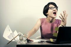 在工作的愤怒 免版税库存照片