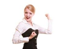 在工作的成功 庆祝促进的女实业家 库存照片