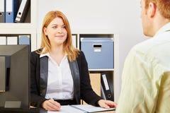在工作面试中的申请人 免版税库存图片