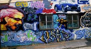 在工厂墙壁上的街道画 库存图片
