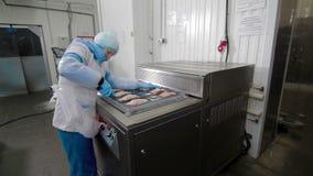 在工厂的被吸尘的包装的肉 股票视频