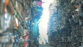 在工厂的被堆的垃圾 许多堆在一家回收的工厂的wastepaper 影视素材