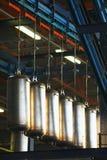 在工厂装配线宿营自治热水供应的不锈钢锅炉 库存图片