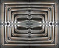 在工厂里面的镀铬物发光的管子 免版税图库摄影