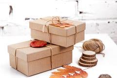 在工艺纸包裹的手工制造礼物和烘干在白色背景的叶子 库存照片