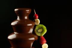 在巧克力喷泉的果子 免版税库存照片