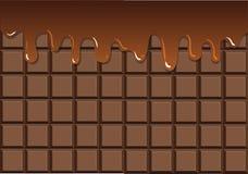 在巧克力块的熔化巧克力 向量例证