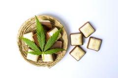 在巧克力片顶部的大麻叶子 免版税库存图片
