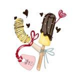 在巧克力的香蕉与在爱的标记 库存照片