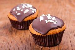 在巧克力结冰的两块杯形蛋糕 免版税库存图片