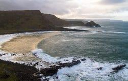 在巨人的堤道的日落,北爱尔兰 免版税库存图片