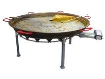 在巨型煎锅的肉菜饭做在狂欢节被隔绝的 免版税库存照片