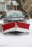 在巨型的雪风暴朱诺碰撞东北部后,纽约准备好为清扫 免版税库存照片