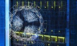 在巨型计算机的磁盘存储的抽象未来派背景 库存图片