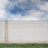 在巨大的墙壁后的蓝天有一架木梯子的 库存图片