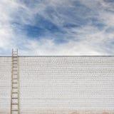 在巨大的墙壁后的蓝天有一架木梯子的 免版税库存图片