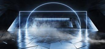 在巨大的黑暗的水泥混凝土难看的东西地下的烟科学幻想小说萤光充满活力的弧框架入口门氖发光的蓝色光 向量例证