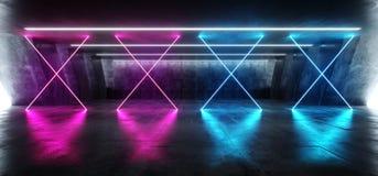 在巨大的黑暗的水泥混凝土难看的东西地下的科学幻想小说萤光充满活力的十字形的霓虹发光的紫色蓝色桃红色光 向量例证