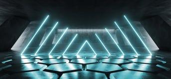 在巨大的黑暗的水泥混凝土难看的东西地下的科学幻想小说萤光充满活力的弧框架入口门氖发光的蓝色光 皇族释放例证