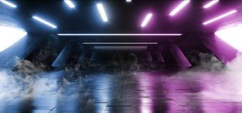 在巨大的黑暗的水泥混凝土难看的东西地下车库的烟科学幻想小说萤光充满活力的霓虹发光的紫色蓝色桃红色光 库存例证