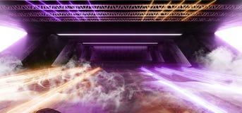 在巨大的黑暗的水泥混凝土难看的东西地下车库的烟科学幻想小说萤光充满活力的霓虹发光的紫色黄色桃红色光 库存例证