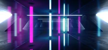在巨大的黑暗的水泥混凝土难看的东西地下车库的科学幻想小说萤光充满活力的霓虹发光的紫色蓝色桃红色光 向量例证