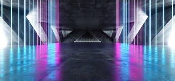 在巨大的黑暗的水泥混凝土难看的东西地下车库的科学幻想小说萤光充满活力的霓虹发光的紫色蓝色桃红色光 皇族释放例证