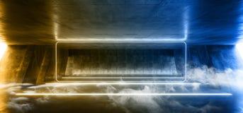 在巨大的黑暗的水泥混凝土难看的东西的烟科学幻想小说萤光充满活力的长方形框架形状的氖发光的蓝色黄灯 向量例证