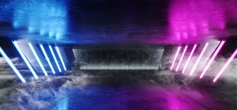 在巨大的黑暗的水泥混凝土难看的东西的烟雾科学幻想小说萤光三角结构充满活力的霓虹发光的紫色蓝色桃红色光 向量例证