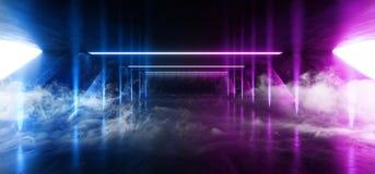 在巨大的黑暗的水泥混凝土难看的东西的烟雾科学幻想小说萤光走廊结构充满活力的霓虹发光的紫色蓝色桃红色光 向量例证