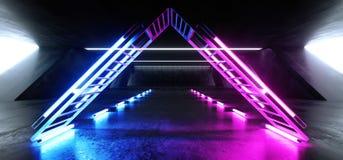 在巨大的黑暗的水泥混凝土难看的东西的科学幻想小说萤光三角结构充满活力的霓虹发光的紫色蓝色桃红色光 库存例证