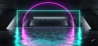在巨大的黑暗的水泥混凝土难看的东西的科学幻想小说萤光充满活力的弧框架入口门霓虹发光的紫色蓝色桃红色光 库存例证