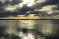 在巴伦西亚Albufera的观点的日落  图库摄影