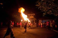 在巴厘岛,印度尼西亚的新年度晚上 库存图片