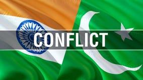 在巴基斯坦和印度旗子的冲突 挥动的旗子设计,3D翻译 巴基斯坦印度旗子图片,墙纸图象 克什米尔 免版税库存图片