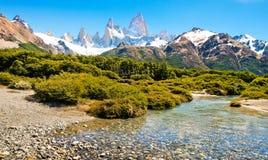 在巴塔哥尼亚,南美洲的美好的横向 库存照片