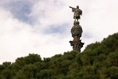 在巴塞罗那港的克里斯托弗・哥伦布纪念碑  库存图片