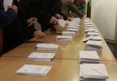 在巴塞罗那细节的投票站公民投票 免版税库存图片