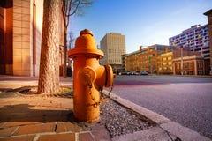 在巴尔的摩市,美国边路的消防龙头  库存图片