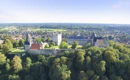 在巴德本泰姆城堡的鸟瞰图 库存图片