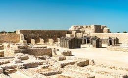 在巴林堡垒的古老废墟 科教文组织世界遗产 免版税库存照片