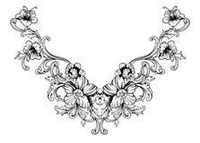 在巴洛克式的样式的花卉脖子刺绣设计 免版税库存图片