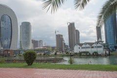 在巴统公共业务位于的大厦旅馆霍尔附近 离巴统新的大道散步走的海岸线不远 库存照片